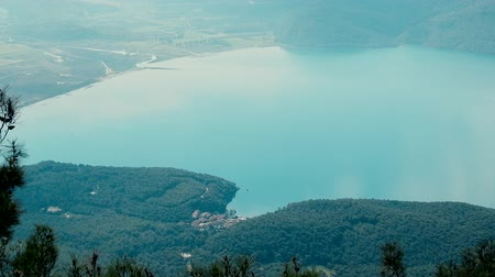 magasság : Mediterranean view of Bay from a great height from shore of sea. breathtaking landscapes of sea Stock mozgókép