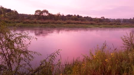 сочетание : Warm summer, rain on river, light fog over water. August evening, blazing sunset. Стоковые видеозаписи