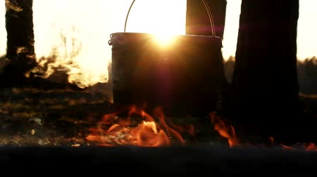 キャセロール : Vibration of the world. Boiling kettle over fire, shivering steam, dance of flames and setting sunlight in background 動画素材