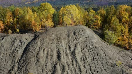 sand bank : Example of water erosion. The steep bank of the lake consists of sandy loam and loam and washed away by rain. Autumn yellow forest at the top Stock Footage