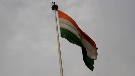 mastro de bandeira : Indian national flag (flag of the Indian Union) flutters on a flagpole and pigeons fly around. Doves of peace and the Indian peace policy (colors of flag spirituality, peacefulness, fertility) Vídeos