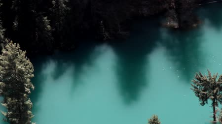yedi : Himalayas. India. The blue lake in a deep gorge (canyon) is silvery with highlights, gentle shadows of trees and the elated mood of the traveler who was lucky to see such Stok Video