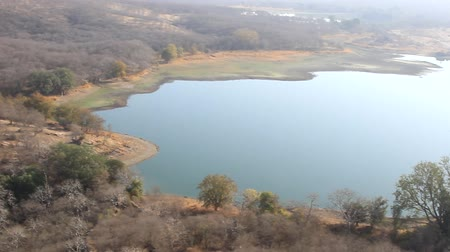 médio : The winter drought in India. Drying up lakes and dry hills with arid wood and shrub vegetation, scrub jungle