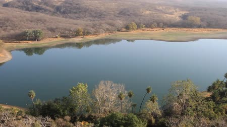 médio : Dry lake in the dry mountains Satpura, the Northern part of the Deccan plateau, red sandstones, winter lowland rivers, scrub jungle. India Stock Footage