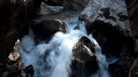 aqueous : small mountain river with crystal clear melt water from the tops of The Sivalik ridge, Pre-Himalayan Stock Footage