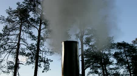 firebox : The smoke before I bought them from a metal chimney. Column of smoke Stock Footage