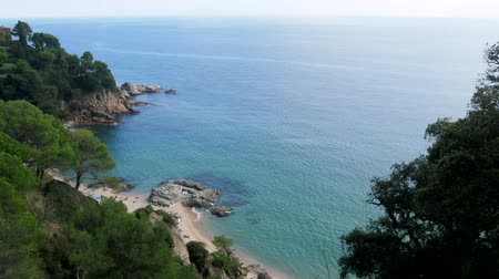石灰岩 : Rocky Mediterranean coast in Catalonia. Sandstone and shallow sea 動画素材