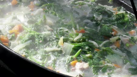 infusion : Vegetable stew with vermicelli is cooked in a cauldron on an open fire. Lunch vegan hiker Stock Footage