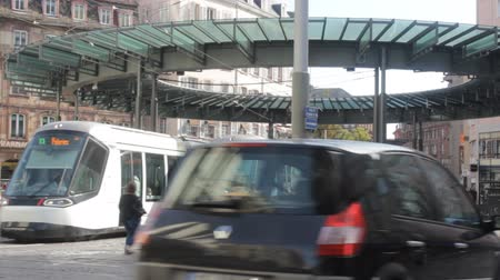 eco tourism : Strasbourg , France - October 17, 2017: modern eco-friendly electric public transport in city