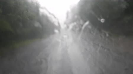 wervelwind : Rain floods the windshield of the car and the wiper doesnt work. What you can see on the highway. Emergency dangerous situation, road accident Stockvideo