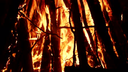 matsuri : huge fire from tree trunks. Once these were death pile (funeral pyres) and bonfires for the burning of witches and wizards (death fire) Stock Footage