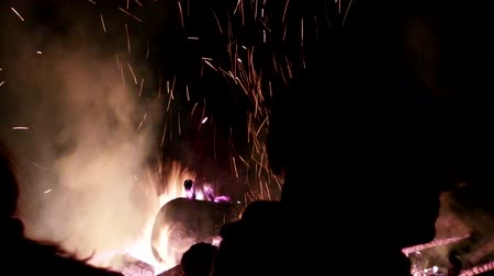 coals : huge fire from tree trunks. Once these were death pile (funeral pyres) and bonfires for the burning of witches and wizards (death fire) Stock Footage
