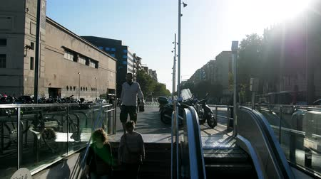 Spain, Barcelona - October 8, 2017: Barcelona metro entrance in the city center Wideo