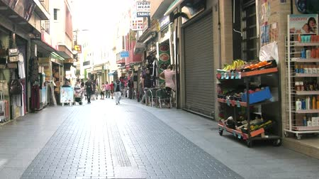 Spain, Lloret de Mar - October 2, 2017: first street parallel to the beach in the resort city of Spain