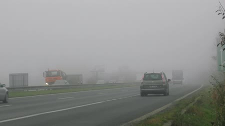 donuk : Czech Republic, Prague - October 20, 2017: foggy European roads in October, cold and rainy Stok Video