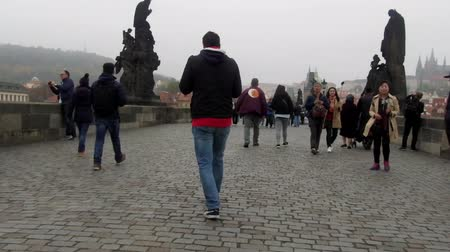 moltitudine : Prague, Czech Republic - October 19, 2017: Charles Bridge in Prague, Czech Republic Filmati Stock