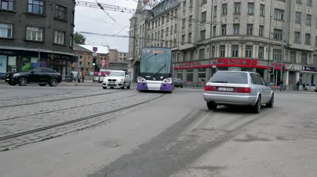 Riga, Latvia, September 4, 2017: transport and streets of Riga on a normal day in early autumn