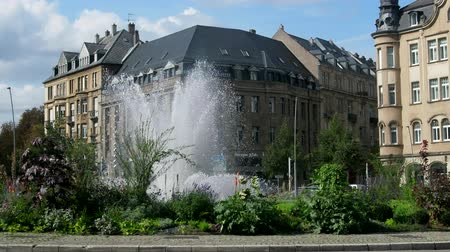 Metz, France - September 20, 2017: city fountain in city of Metz in middle of roundabout