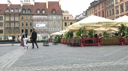 paving : Warsaw, Poland - September 7, 2017: square of the city Strumykowa with street Brasserie Bistro Zwierzyniec