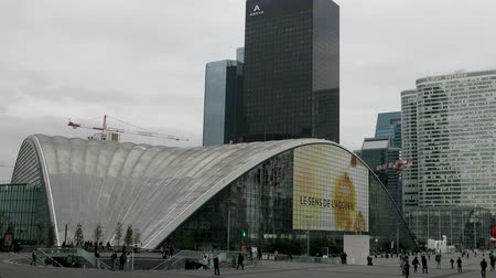 establishment : Paris, France - 24.09.2017: Industry and technology center as an example of glass technologies in architecture, the largest Windows in the world. Defans business quarter, mass of tourists