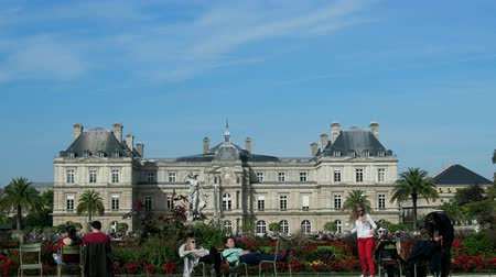 city resident : Paris, France - 24.09.2017: park of Luxembourg Palace as place of mass recreation of citizens at weekend