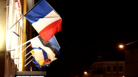 společenství : Colorful international and specialty flags are waving in the wind in a dark city, night lights