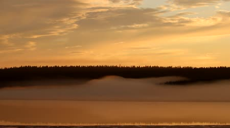 rozpouštění : Misty calm evening on the forest lake is illuminated by the colors of sunset, melting ice, reflection in the water mirror, waves of fog. Spring in the Arctic North. Scandinavia, Lapland