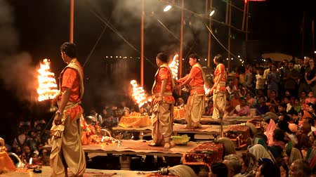 puja : India, Varanasi - March 20, 2018: Fire Puja is not only a religious ceremony, but also one of main attractions for tourists.