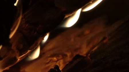 coals : Burning wood, flames, coals. The magic of fire, fascinating spectacle since the time of ancient man. Super slow motion 1000 fps.
