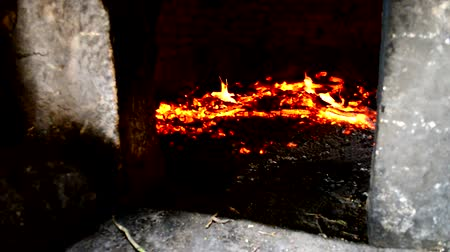 heat resistant : Stone oven heating up Stock Footage