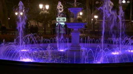 podsvícení : HD Panoramic view of Odessa fountain attrection with backlighting in the night.