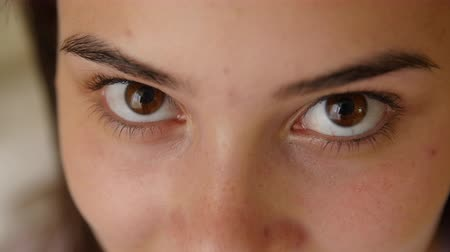 bizakodó : 4K close up shot of females eyes. Stock mozgókép