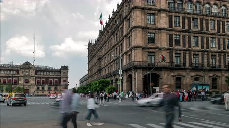 cdmx : Street of Plaza de la Constitucion and Edificio De Gobierno of Mexico City time lapse Stock Footage