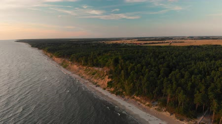 klaipeda : Aerial view of the Dutchmans Cap, the highest scarp in the whole Lithuanian seaside Stock Footage