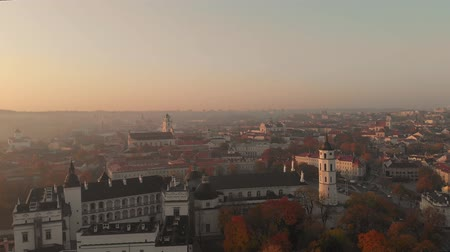 vilnius old town : Aerial morning view of Vilnius Cathedral Square Stock Footage