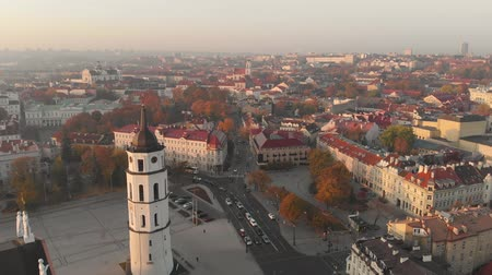 Литва : Aerial morning view of Vilnius Cathedral Square Стоковые видеозаписи