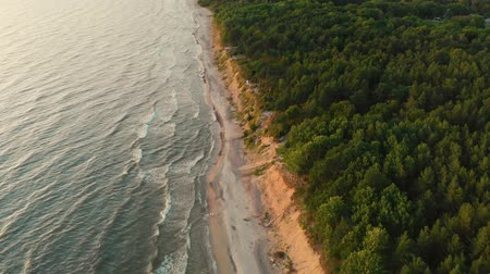 baltık denizi : Aerial view of the Dutchmans Cap, the highest scarp in the whole Lithuanian seaside Stok Video