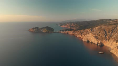 grecja : Scenic aerial view of coastline of Kefalonia during sunset