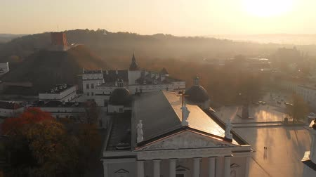 bell tower : Aerial morning view of Vilnius Cathedral Square Stock Footage