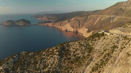elvonult : Scenic aerial view of coastline of Kefalonia during sunset