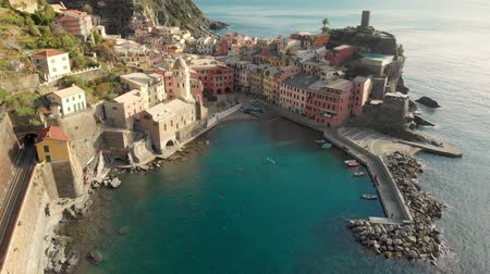 toward : Aerial view of Vernazza, the famous Cinque Terre town, Liguria, Northern Italy
