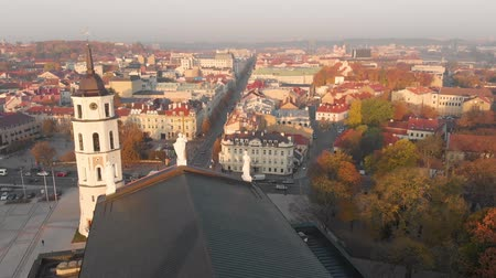 litvánia : Aerial morning view of Vilnius Cathedral Square Stock mozgókép