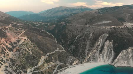 hrubý : Aerial view of Myrtos beach, the most beautiful beach of Kefalonia