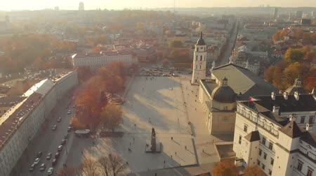 Aerial morning view of Vilnius Cathedral Square Stok Video