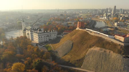 Aerial morning view of Vilnius Cathedral Square and Gediminas Tower