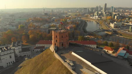 Aerial arc morning view of Gediminas Tower in the centre of Vilnius