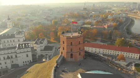 vilnius old town : Aerial arc morning view of Gediminas Tower in the centre of Vilnius