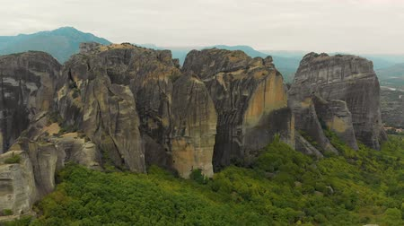 meteora : Impressive aerial panoramic view of the famous beautiful Meteora valley