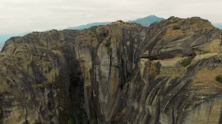 Impressive aerial panoramic view of the famous beautiful Meteora valley