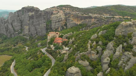 kalambaka : Impressive aerial panoramic view of the famous beautiful Meteora valley